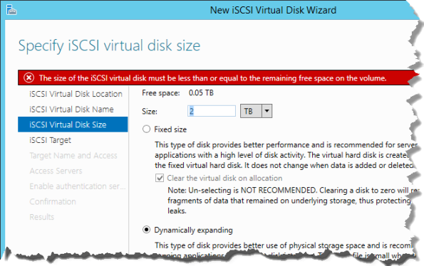 Server 2012 R2 iSCSI Wizard
