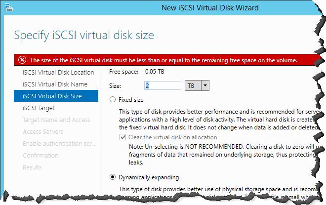 Server 2012 R2 iSCSI Wizard