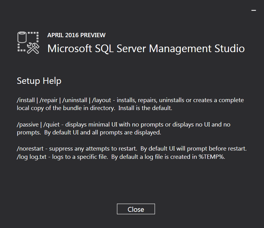 Performing a Silent Install of SQL Server Management Studio