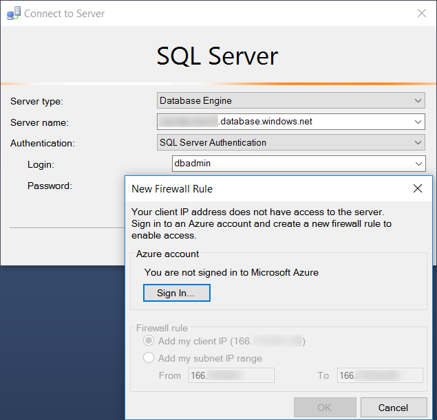 SQL Server Management Studio 2016 offering to add your IP to the firewall rules for Azure SQL DB