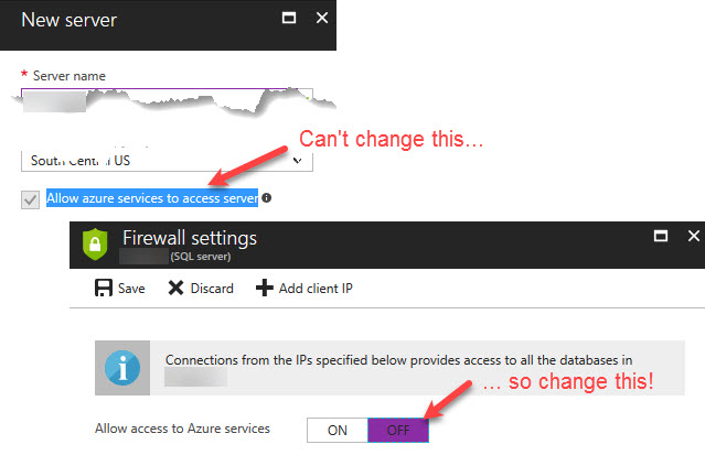 Azure SQL DB firewall for Azure svcs