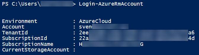 Login-AzureRmAccount output