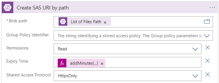 The configuration of the Create SAS URI by path action
